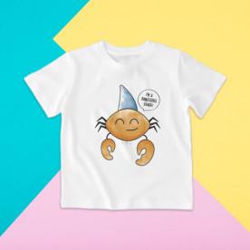 Camiseta para niño y para niña de manga corta con dibujo de cangrejo