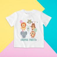 Camiseta para niña y niño de manga corta con dibujo de fiesta animal