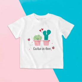 Camiseta para niña y niño de manga corta con dibujo de cactus enamorados