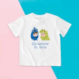 Camiseta para niña y niño de manga corta con dibujo de monstruos enamorados