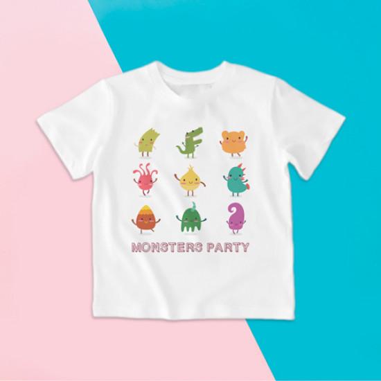 Camiseta para niño y para niña de manga corta con dibujo de monstruitos divertidos