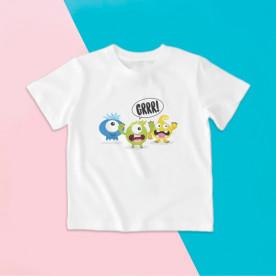 Camiseta para niña y niño de manga corta con dibujo de monstruitos divertidos