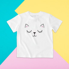 Camiseta para niño y para niña de manga corta con la cara de un gatito