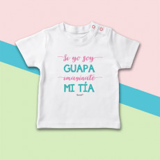 Camiseta de manga corta para bebé, ideal para regalar a tu sobrina. Porque las dos sois muy guapas