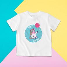 Camiseta para niña y niño de manga corta con dibujo de unicornio de fiesta