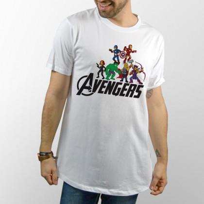 Camiseta unisex manga corta para chico y chica, modelo básico y extra largo con dibujo los Vengadores versión Simpsons