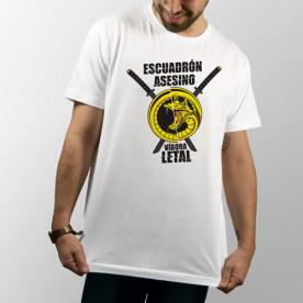 Camiseta unisex blanca de manga corta con dibujo del Escuadrón asesino Víbora Letal de Kill Bill