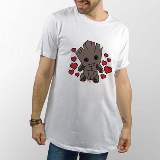 Camiseta blanca unisex de manga corta con dibujo de Baby Groot de los Guardianes de la Galaxia
