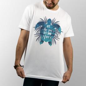 Camiseta blanca unisex de manga corta con dibujo de tortuga marina, ideal para el verano y para los surferos