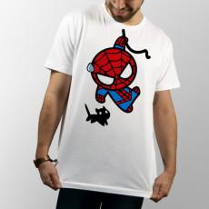 Camiseta para chica y chico de manga corta, con dibujo divertido de Spiderman