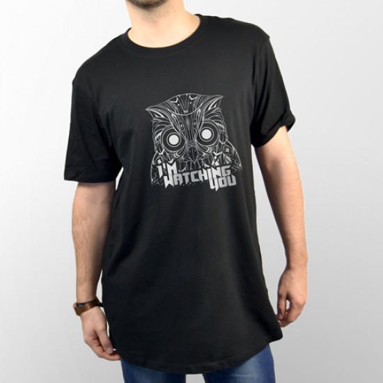 Camiseta para chico y chica de manga corta con dibujo de un búho observándote