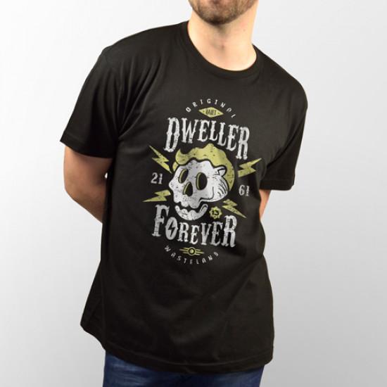 "Camiseta de manga corta negra unisex del videojuego ""Fallout"" con el personaje ""Vault Boy"""