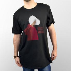 """Camiseta unisex negra con la silueta de la criada June de la serie """"The handmaid's tale"""""""