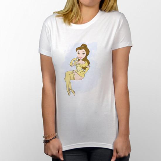"""Camiseta unisex de manga corta con dibujo de la princesa Disney """"Bella"""""""