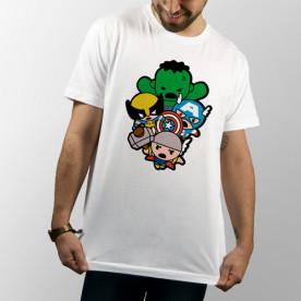 Camiseta para chico y chica de manga corta, modelo básico y extra largo con dibujo divertido de Los Vengadores