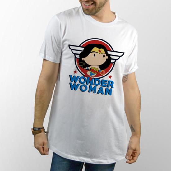 Camiseta para chico y chica de manga corta, modelo básico y extra largo con dibujo divertido de Wonder Woman