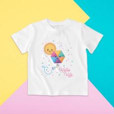 Camiseta para niña y niño de manga corta con dibujo de cometa y sol para el verano