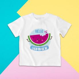 Camiseta para niña y niño de manga corta con dibujo de sandía para el verano