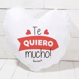 Cojín de algodón color natural en forma de corazón con frase de amor romántica (RELLENO INCLUIDO)