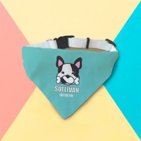 Collar para perro con bandana de color blanco con diseño supermolón.