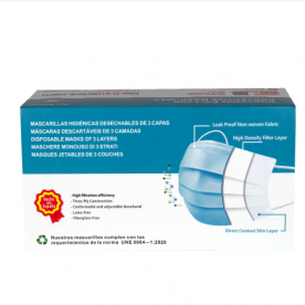 Mascarillas de fabricación Española, producto 100% nacional y de calidad Europea, cumpliendo con las especificaciones técnicas  UNE 0064-1:2020 Mascarillas higiénicas no quirúrgicas desechables de un sólo uso.