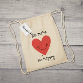 Saco de tela con diseño de corazón sonriente