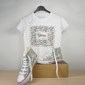 """Pack de zapatillas y camiseta personalizada """"ÚNICA"""", como tú"""