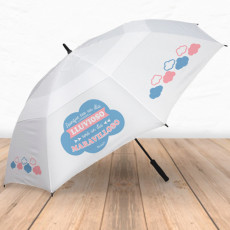 Paraguas antiviento con frase positiva