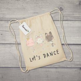 Saco de tela con dibujo de gatitas bailarinas