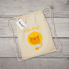 Saco de tela con dibujo de león gatuno
