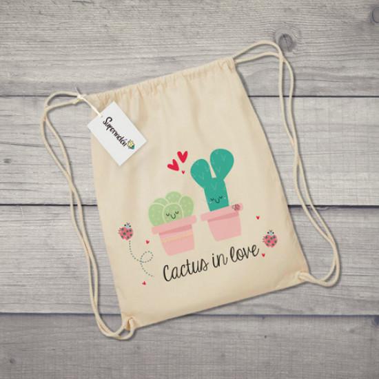 Saco de tela con dibujo de cactus enamorados