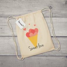 Saco de tela con diseño de helado de cucurucho con corazones