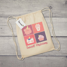 Saco de tela con diseño dulce de unicornios