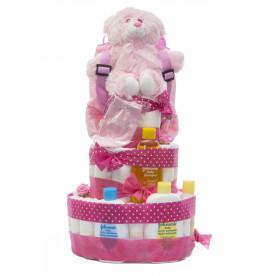 Tarta de pañales para niña de 3 pisos de color rosa con pañales Dodot sensitive talla 2
