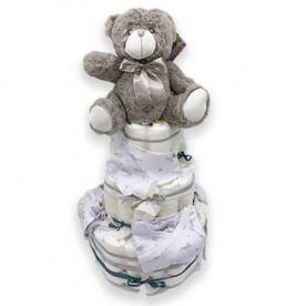 Tarta de pañales Unisex para bebé de 3 pisos con pañales Dodot y ropa bebé