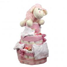 Tarta de pañales para niña de 3 pisos de color rosa con pañales Dodot