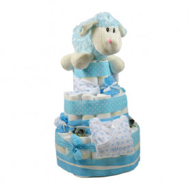 Tarta de pañales para niño de 3 pisos de color azul con pañales Dodot