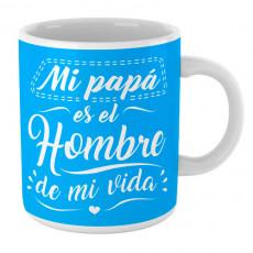 Taza de cerámica con mensaje alegre y motivador para hacer un regalo original a papá.