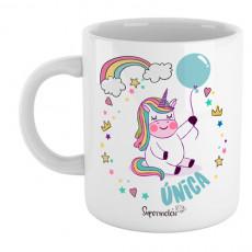 """Divertida taza de unicornio con mensaje """"Única"""" para hacer un regalo original a esa persona especial"""
