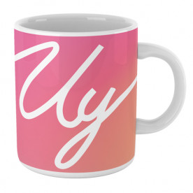 Taza cerámica de colores con frase típica del youtuber Uy Albert! y logo blanco