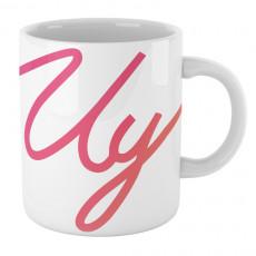Taza blanca de cerámica con logo de colores del youtuber Uy Albert!
