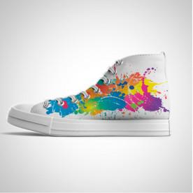 Zapatillas de caña alta con impresión de diseño de colores desiguales
