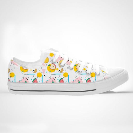 Zapatillas de caña alta impresas con diseño de frutas y figuras abstractas