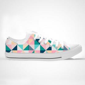 Zapatillas de caña alta con impresión de diseño de triángulos coloreados