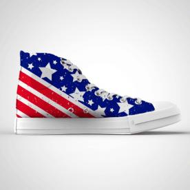 Zapatillas impresas de caña alta con diseño de estrellas y bandera