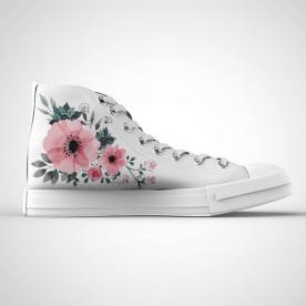 Zapatillas impresas de caña alta con diseño de flores grises