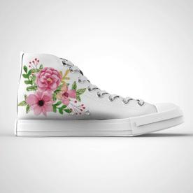Zapatillas impresas de caña alta con diseño de flores coloridas