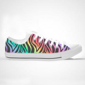 Zapatillas impresas de caña baja o alta con diseño estilo zebra de colores