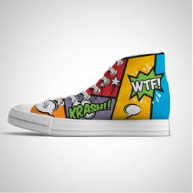 Zapatillas impresas de caña alta con diseño Pop art de los 80'