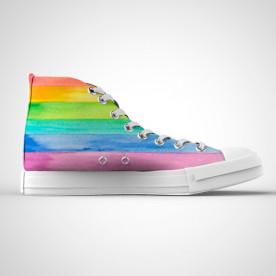 Zapatillas de caña alta con diseño de colores del arcoiris